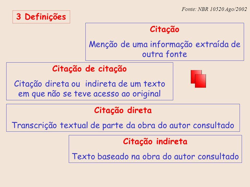 Fonte: NBR 6023 – Ago/2002 Fonte: NBR 10520 Ago/2002 3 Definições Citação Menção de uma informação extraída de outra fonte Citação de citação Citação