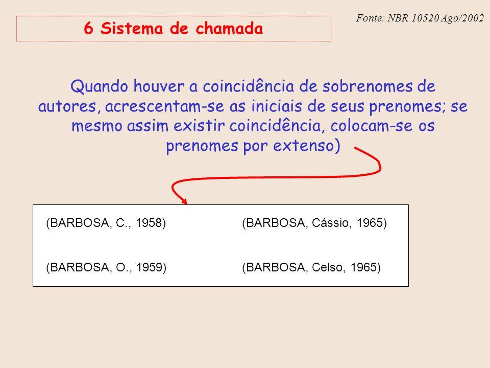 Fonte: NBR 6023 – Ago/2002 Fonte: NBR 10520 Ago/2002 6 Sistema de chamada Quando houver a coincidência de sobrenomes de autores, acrescentam-se as ini