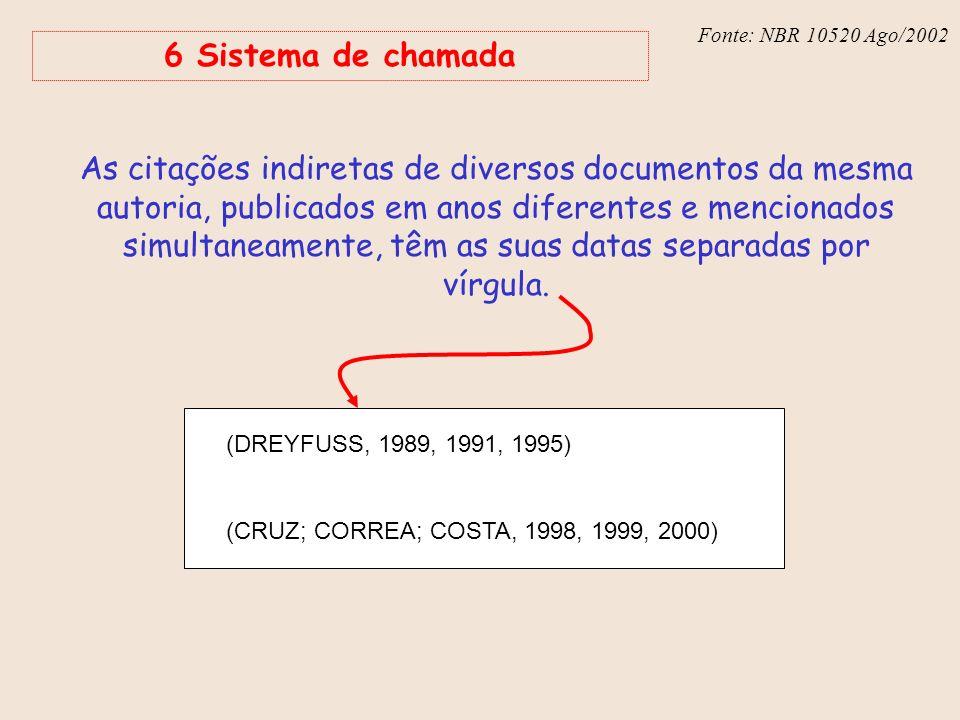 Fonte: NBR 6023 – Ago/2002 Fonte: NBR 10520 Ago/2002 6 Sistema de chamada As citações indiretas de diversos documentos da mesma autoria, publicados em