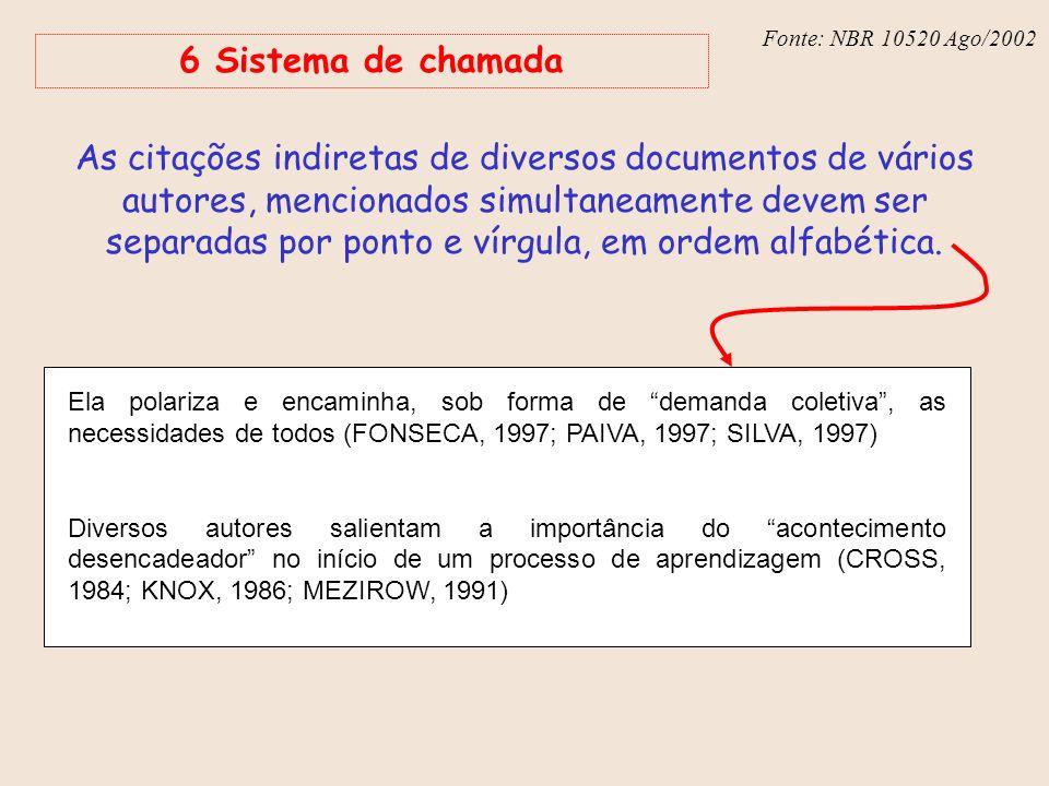 Fonte: NBR 6023 – Ago/2002 Fonte: NBR 10520 Ago/2002 6 Sistema de chamada As citações indiretas de diversos documentos de vários autores, mencionados