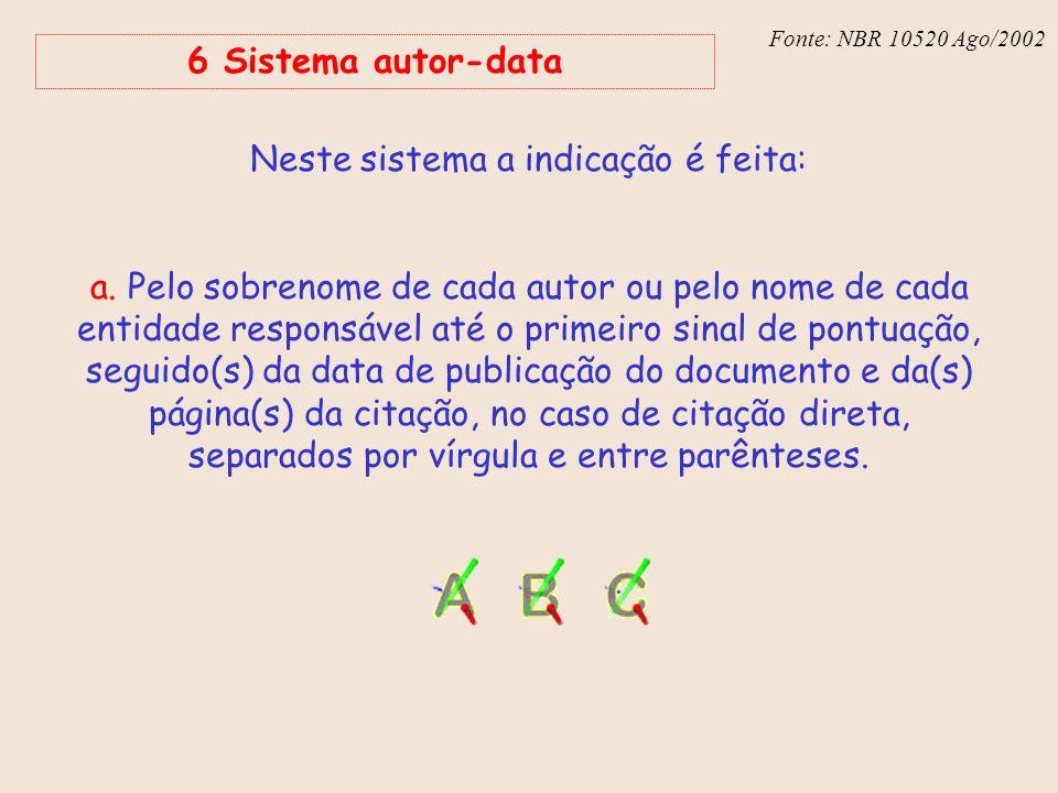 Fonte: NBR 6023 – Ago/2002 Fonte: NBR 10520 Ago/2002 6 Sistema autor-data Neste sistema a indicação é feita: a. Pelo sobrenome de cada autor ou pelo n