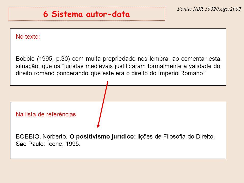 Fonte: NBR 6023 – Ago/2002 Fonte: NBR 10520 Ago/2002 6 Sistema autor-data No texto: Bobbio (1995, p.30) com muita propriedade nos lembra, ao comentar
