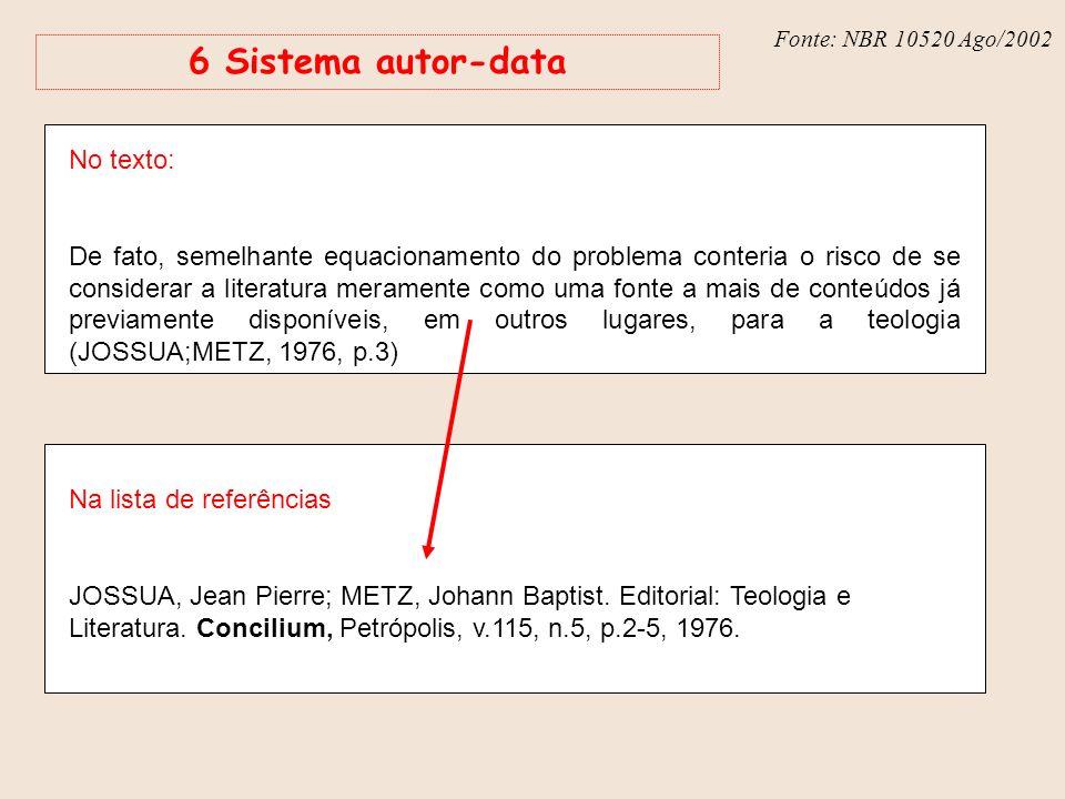 Fonte: NBR 6023 – Ago/2002 Fonte: NBR 10520 Ago/2002 6 Sistema autor-data No texto: De fato, semelhante equacionamento do problema conteria o risco de