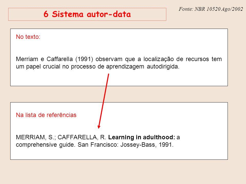 Fonte: NBR 6023 – Ago/2002 Fonte: NBR 10520 Ago/2002 6 Sistema autor-data No texto: Merriam e Caffarella (1991) observam que a localização de recursos