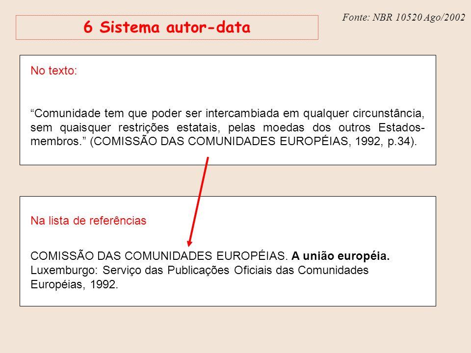 Fonte: NBR 6023 – Ago/2002 Fonte: NBR 10520 Ago/2002 6 Sistema autor-data No texto: Comunidade tem que poder ser intercambiada em qualquer circunstânc