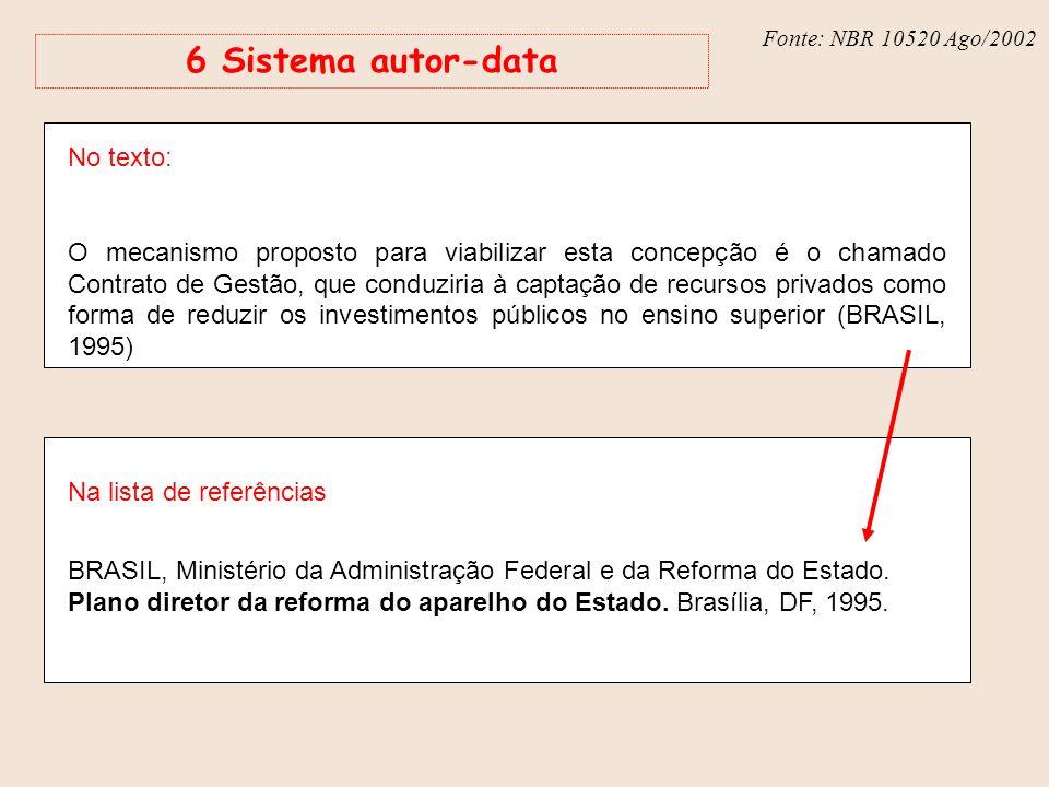 Fonte: NBR 6023 – Ago/2002 Fonte: NBR 10520 Ago/2002 6 Sistema autor-data No texto: O mecanismo proposto para viabilizar esta concepção é o chamado Co