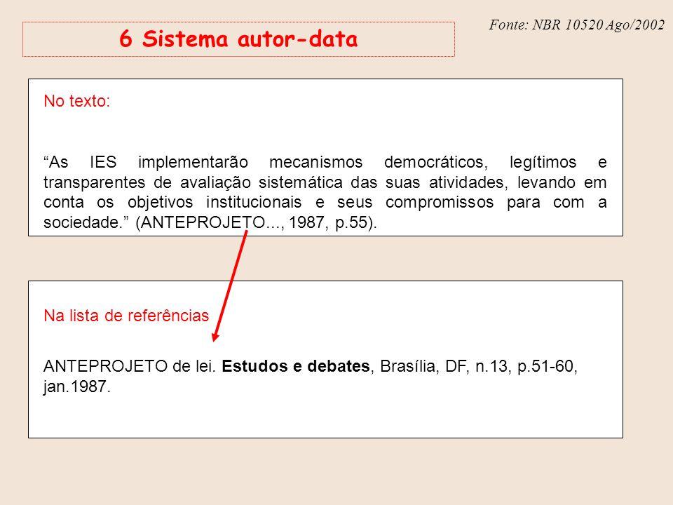 Fonte: NBR 6023 – Ago/2002 6 Sistema autor-data No texto: As IES implementarão mecanismos democráticos, legítimos e transparentes de avaliação sistemá