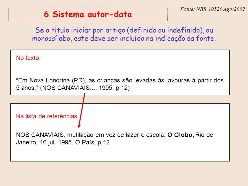 Fonte: NBR 6023 – Ago/2002 6 Sistema autor-data No texto: Em Nova Londrina (PR), as crianças são levadas às lavouras à partir dos 5 anos. (NOS CANAVIA