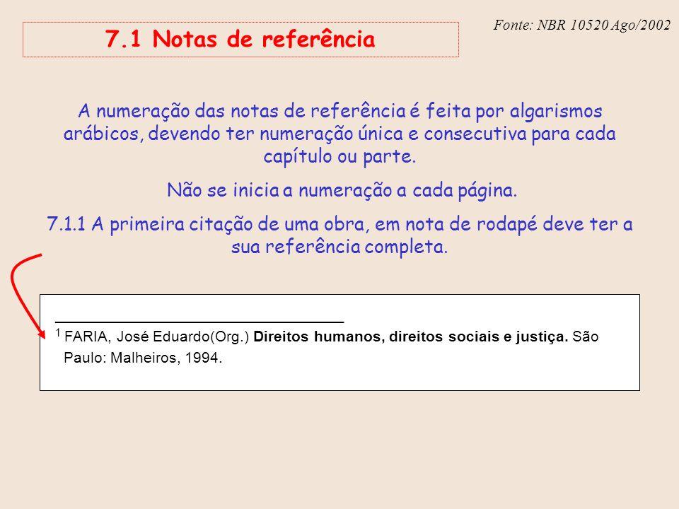 Fonte: NBR 6023 – Ago/2002 7.1 Notas de referência _______________________________ 1 FARIA, José Eduardo(Org.) Direitos humanos, direitos sociais e ju
