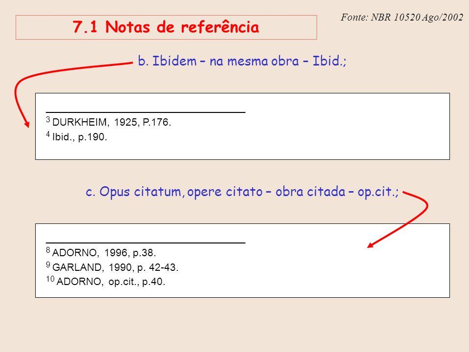 Fonte: NBR 6023 – Ago/2002 7.1 Notas de referência _______________________________ 3 DURKHEIM, 1925, P.176. 4 Ibid., p.190. b. Ibidem – na mesma obra