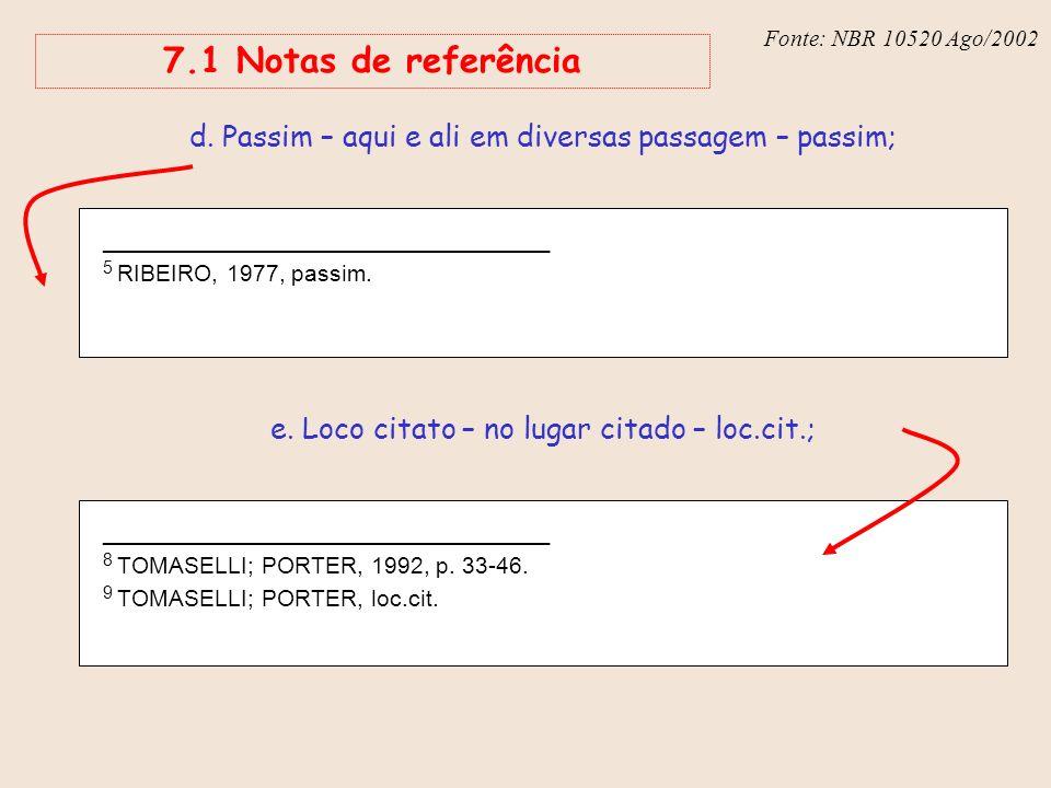 Fonte: NBR 6023 – Ago/2002 7.1 Notas de referência _______________________________ 5 RIBEIRO, 1977, passim. d. Passim – aqui e ali em diversas passage