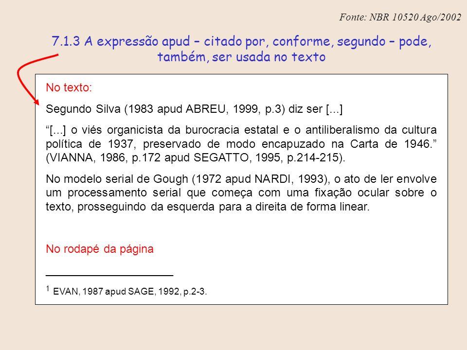 Fonte: NBR 6023 – Ago/2002 No texto: Segundo Silva (1983 apud ABREU, 1999, p.3) diz ser [...] [...] o viés organicista da burocracia estatal e o antil