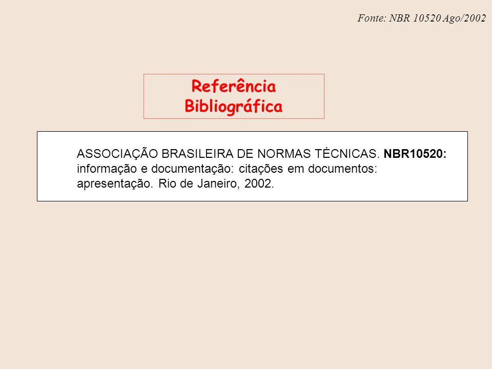 Fonte: NBR 6023 – Ago/2002 ASSOCIAÇÃO BRASILEIRA DE NORMAS TÉCNICAS. NBR10520: informação e documentação: citações em documentos: apresentação. Rio de