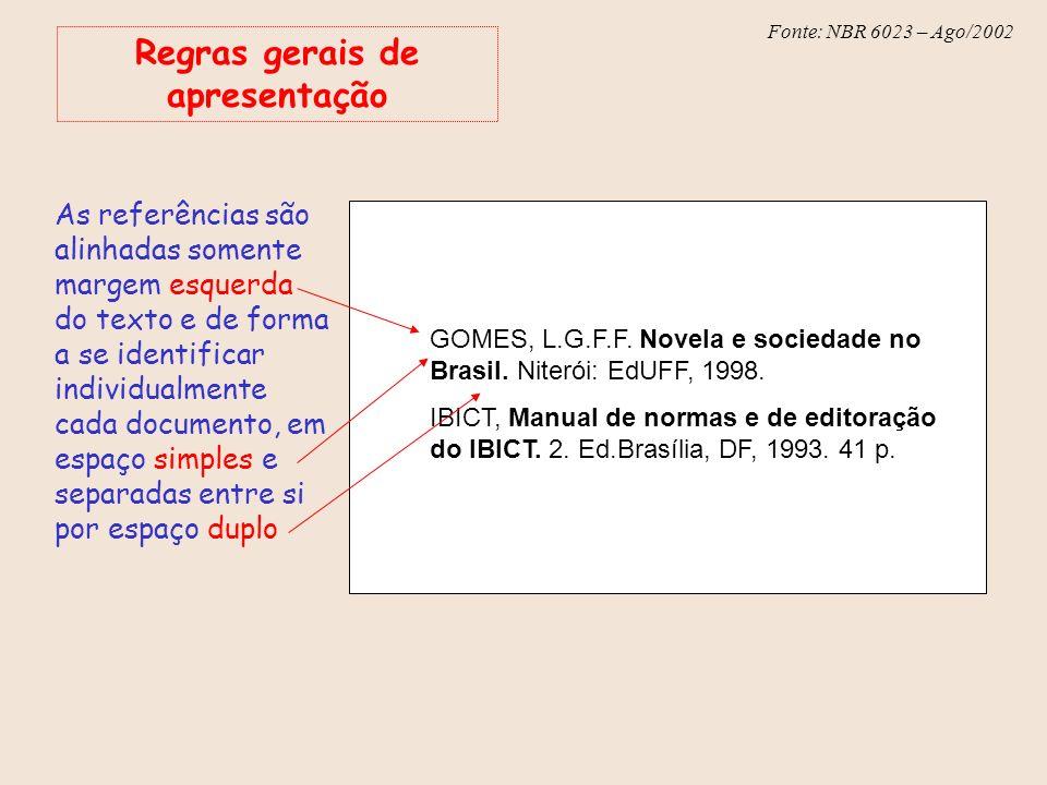 Fonte: NBR 6023 – Ago/2002 Regras gerais de apresentação As referências são alinhadas somente margem esquerda do texto e de forma a se identificar ind
