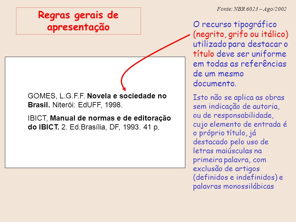 Fonte: NBR 6023 – Ago/2002 Regras gerais de apresentação O recurso tipográfico (negrito, grifo ou itálico) utilizado para destacar o título deve ser u