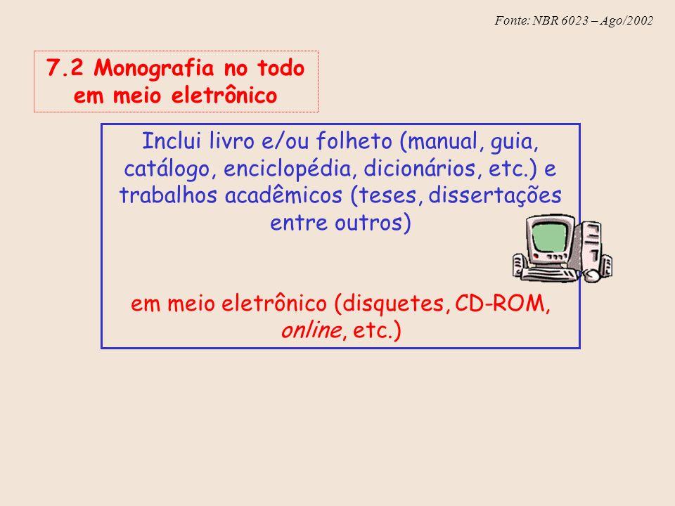 Fonte: NBR 6023 – Ago/2002 7.2 Monografia no todo em meio eletrônico Inclui livro e/ou folheto (manual, guia, catálogo, enciclopédia, dicionários, etc