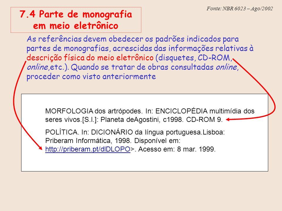 Fonte: NBR 6023 – Ago/2002 7.4 Parte de monografia em meio eletrônico As referências devem obedecer os padrões indicados para partes de monografias, a