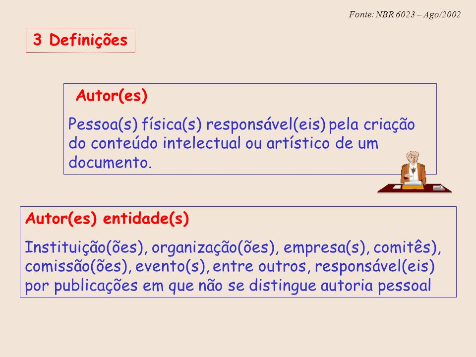 Fonte: NBR 6023 – Ago/2002 Fonte: NBR 10520 Ago/2002 6 Sistema autor-data Neste sistema a indicação é feita: a.