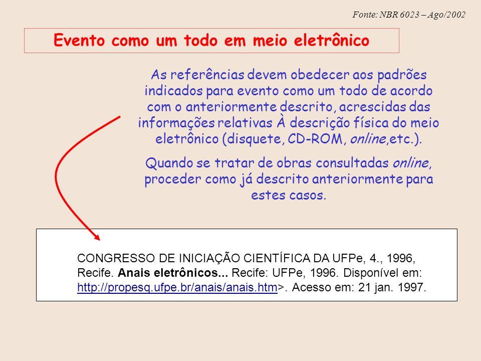 Fonte: NBR 6023 – Ago/2002 Evento como um todo em meio eletrônico As referências devem obedecer aos padrões indicados para evento como um todo de acor