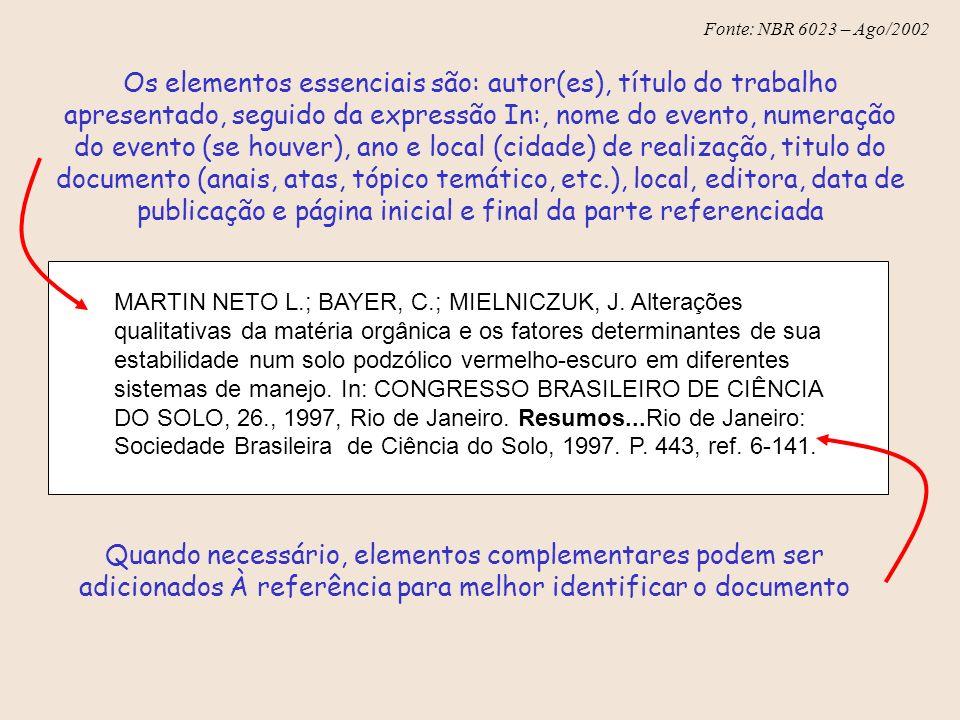 Fonte: NBR 6023 – Ago/2002 Os elementos essenciais são: autor(es), título do trabalho apresentado, seguido da expressão In:, nome do evento, numeração