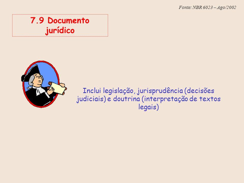 Fonte: NBR 6023 – Ago/2002 7.9 Documento jurídico Inclui legislação, jurisprudência (decisões judiciais) e doutrina (interpretação de textos legais)
