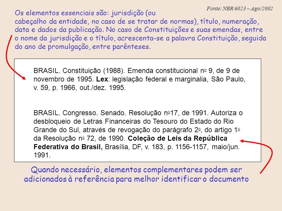 Fonte: NBR 6023 – Ago/2002 Os elementos essenciais são: jurisdição (ou cabeçalho da entidade, no caso de se tratar de normas), título, numeração, data