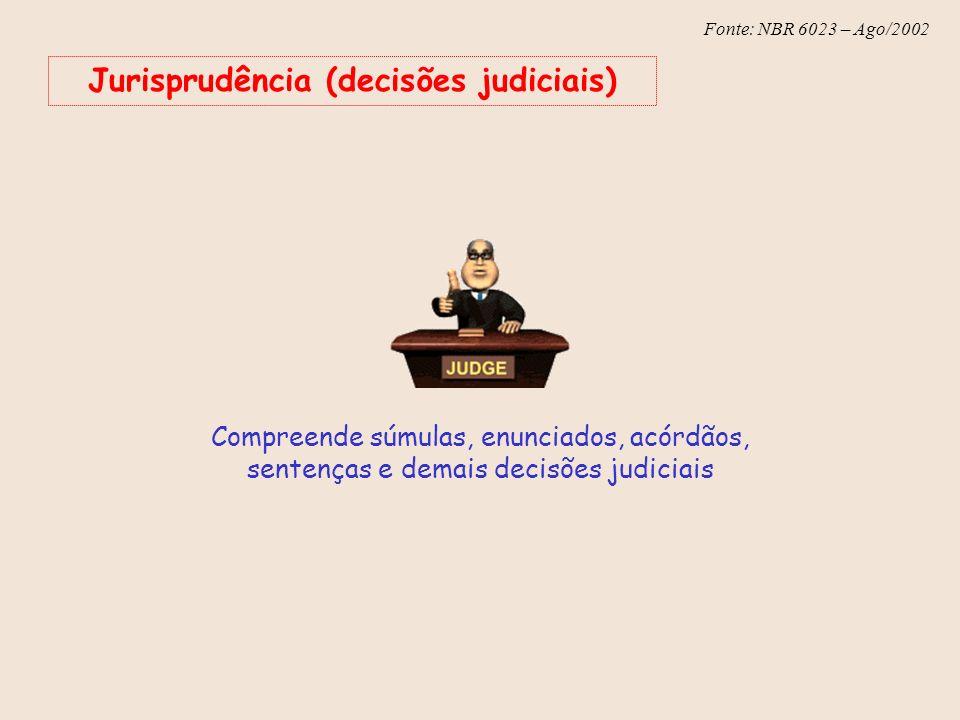 Fonte: NBR 6023 – Ago/2002 Jurisprudência (decisões judiciais) Compreende súmulas, enunciados, acórdãos, sentenças e demais decisões judiciais