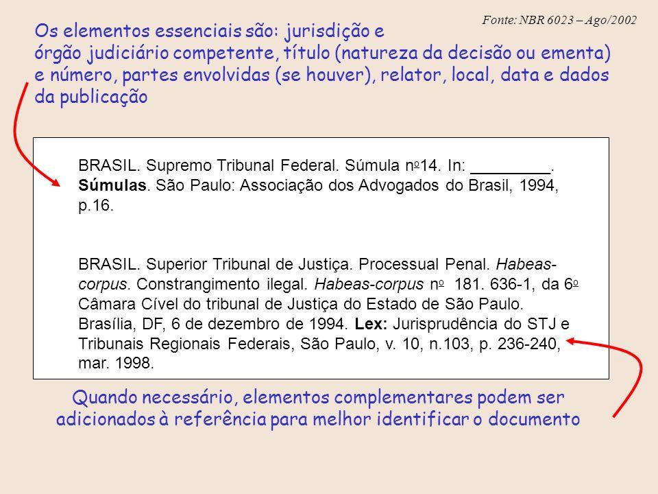 Fonte: NBR 6023 – Ago/2002 Os elementos essenciais são: jurisdição e órgão judiciário competente, título (natureza da decisão ou ementa) e número, par
