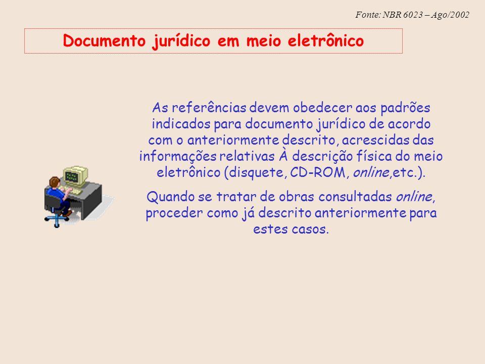 Fonte: NBR 6023 – Ago/2002 Documento jurídico em meio eletrônico As referências devem obedecer aos padrões indicados para documento jurídico de acordo