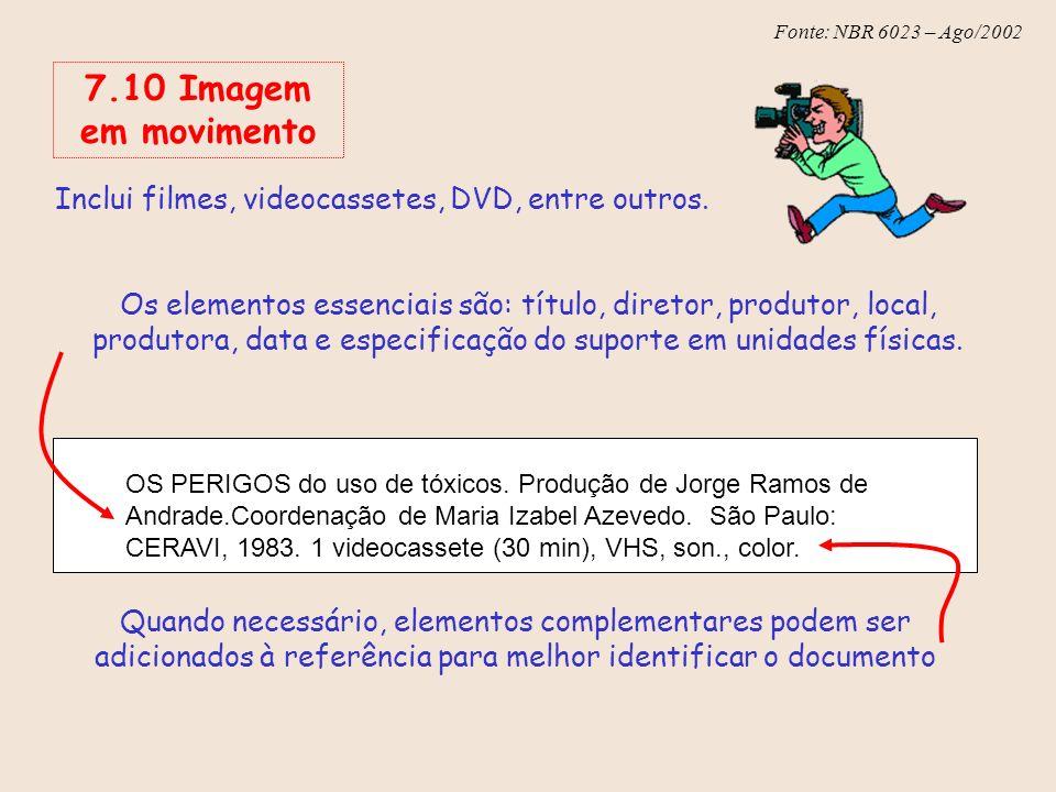 Fonte: NBR 6023 – Ago/2002 Inclui filmes, videocassetes, DVD, entre outros. Os elementos essenciais são: título, diretor, produtor, local, produtora,