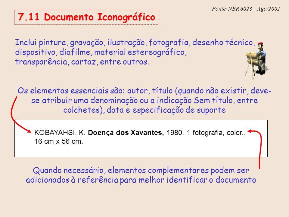 Fonte: NBR 6023 – Ago/2002 Inclui pintura, gravação, ilustração, fotografia, desenho técnico, dispositivo, diafilme, material estereográfico, transpar
