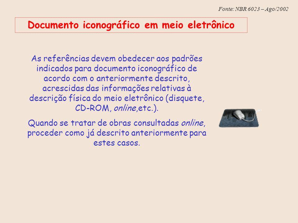Fonte: NBR 6023 – Ago/2002 Documento iconográfico em meio eletrônico As referências devem obedecer aos padrões indicados para documento iconográfico d