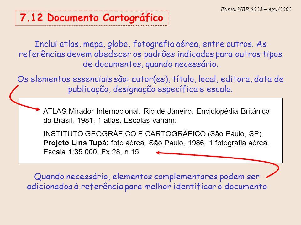 Fonte: NBR 6023 – Ago/2002 Inclui atlas, mapa, globo, fotografia aérea, entre outros. As referências devem obedecer os padrões indicados para outros t
