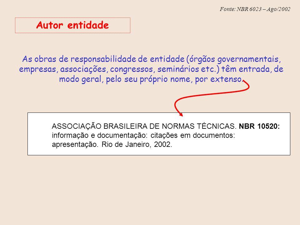 Fonte: NBR 6023 – Ago/2002 Autor entidade As obras de responsabilidade de entidade (órgãos governamentais, empresas, associações, congressos, seminári