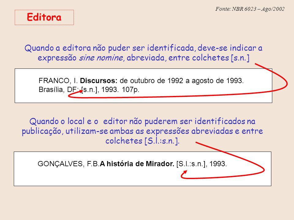 Fonte: NBR 6023 – Ago/2002 Editora Quando a editora não puder ser identificada, deve-se indicar a expressão sine nomine, abreviada, entre colchetes [s
