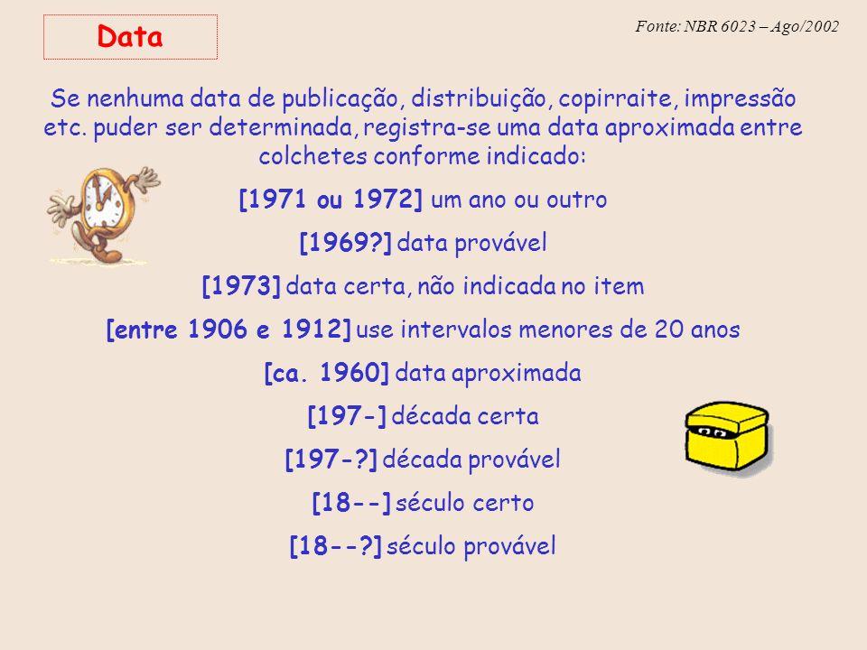Fonte: NBR 6023 – Ago/2002 Data Se nenhuma data de publicação, distribuição, copirraite, impressão etc. puder ser determinada, registra-se uma data ap