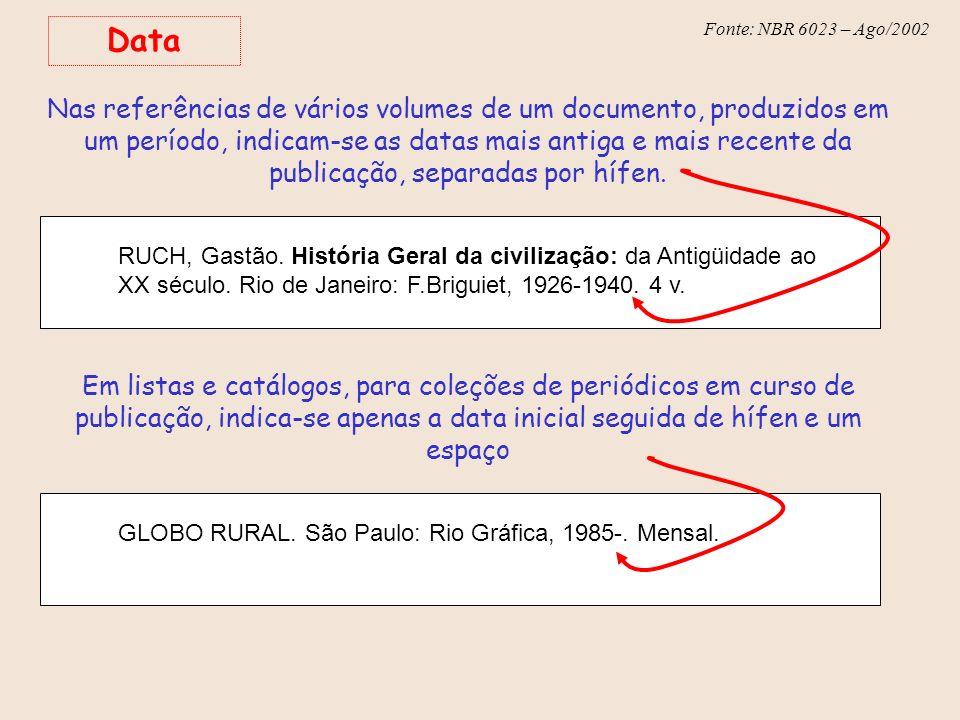 Fonte: NBR 6023 – Ago/2002 Data Nas referências de vários volumes de um documento, produzidos em um período, indicam-se as datas mais antiga e mais re