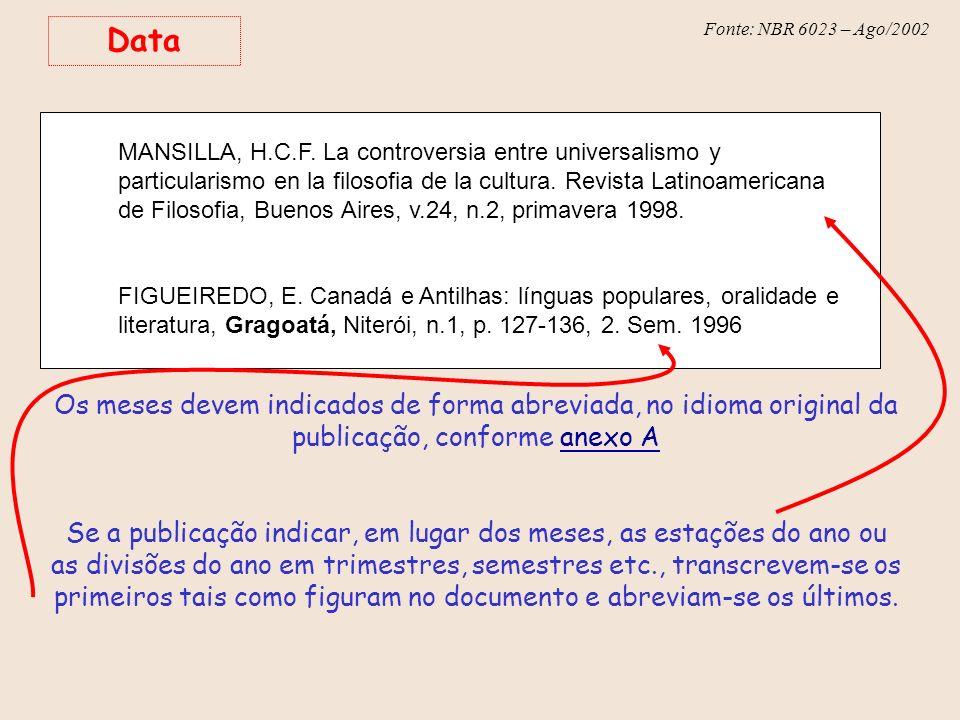 Fonte: NBR 6023 – Ago/2002 Data MANSILLA, H.C.F. La controversia entre universalismo y particularismo en la filosofia de la cultura. Revista Latinoame