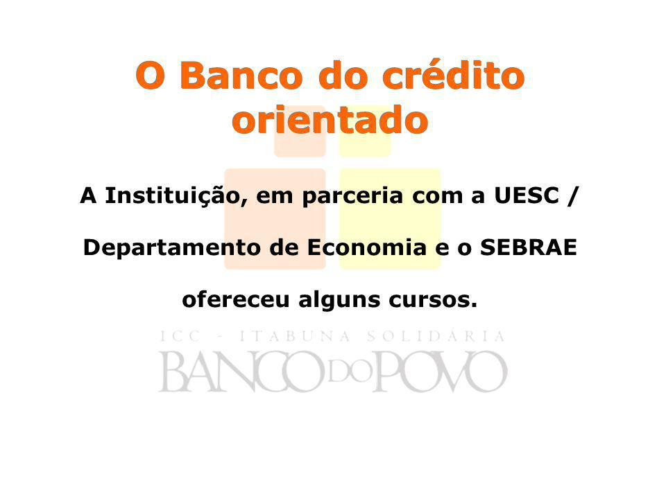 O Banco do crédito orientado A Instituição, em parceria com a UESC / Departamento de Economia e o SEBRAE ofereceu alguns cursos.