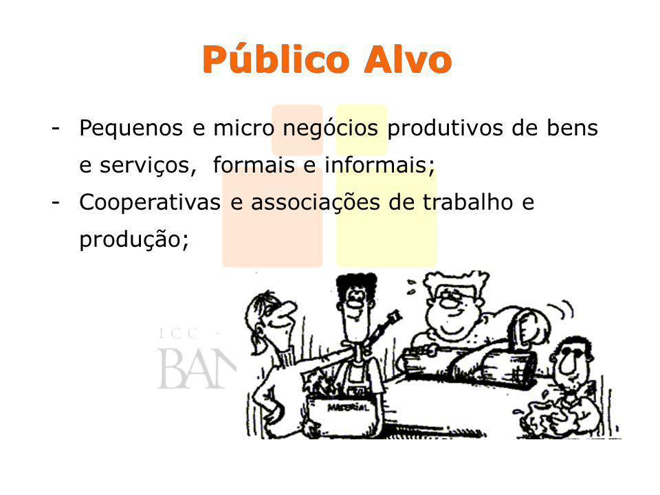 Público Alvo -Pequenos e micro negócios produtivos de bens e serviços, formais e informais; -Cooperativas e associações de trabalho e produção;