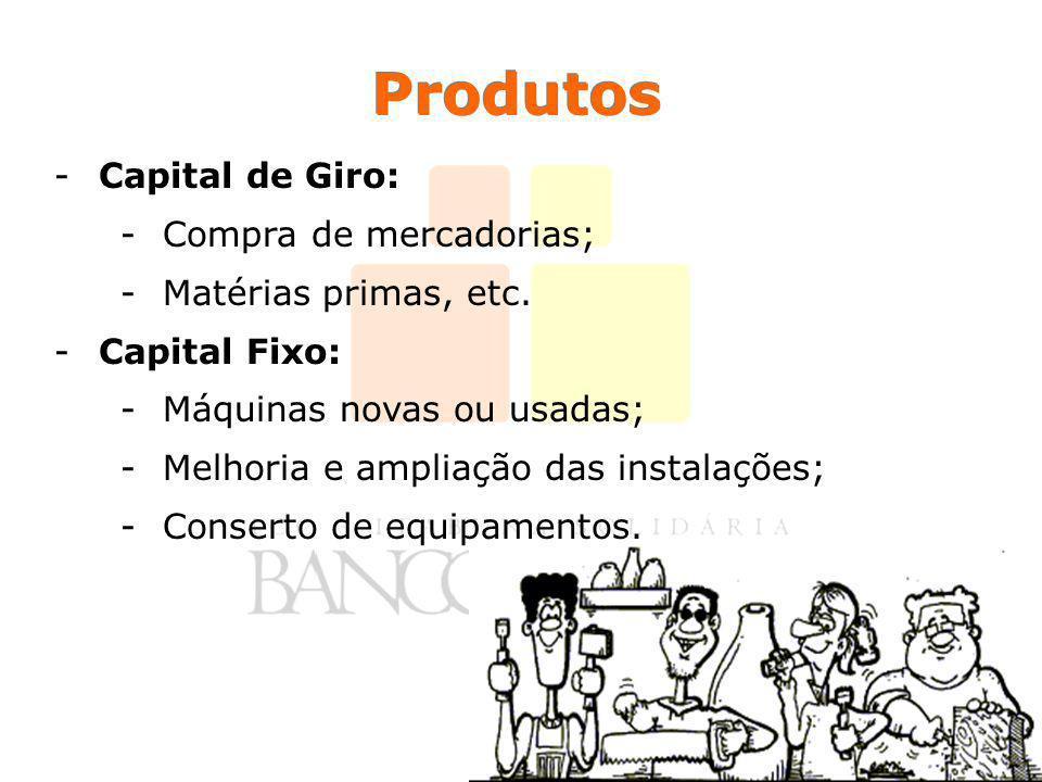 Produtos -Capital de Giro: -Compra de mercadorias; -Matérias primas, etc. -Capital Fixo: -Máquinas novas ou usadas; -Melhoria e ampliação das instalaç