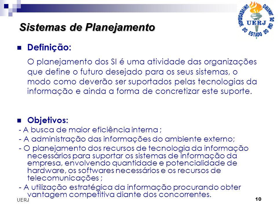 10 UERJ Sistemas de Planejamento Definição: O planejamento dos SI é uma atividade das organizações que define o futuro desejado para os seus sistemas,