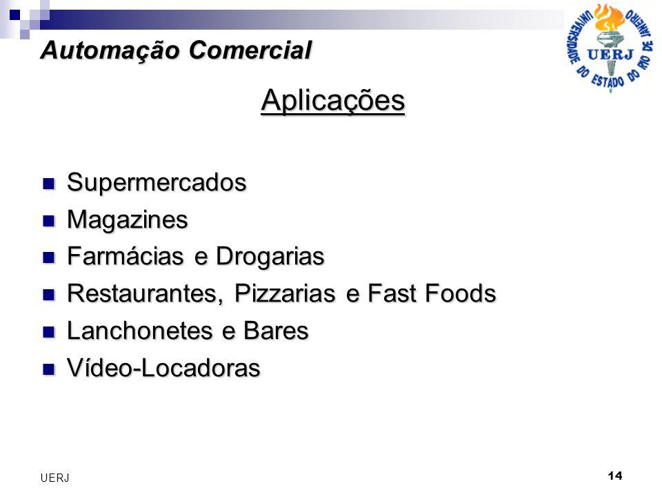 14 UERJ Automação Comercial Aplicações Supermercados Supermercados Magazines Magazines Farmácias e Drogarias Farmácias e Drogarias Restaurantes, Pizza