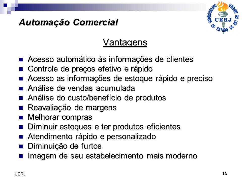 15 UERJ Vantagens Acesso automático às informações de clientes Acesso automático às informações de clientes Controle de preços efetivo e rápido Contro