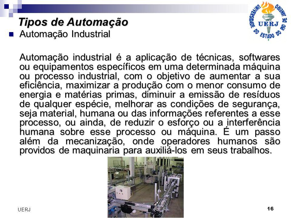 16 UERJ Automação Industrial Automação Industrial Automação industrial é a aplicação de técnicas, softwares ou equipamentos específicos em uma determi