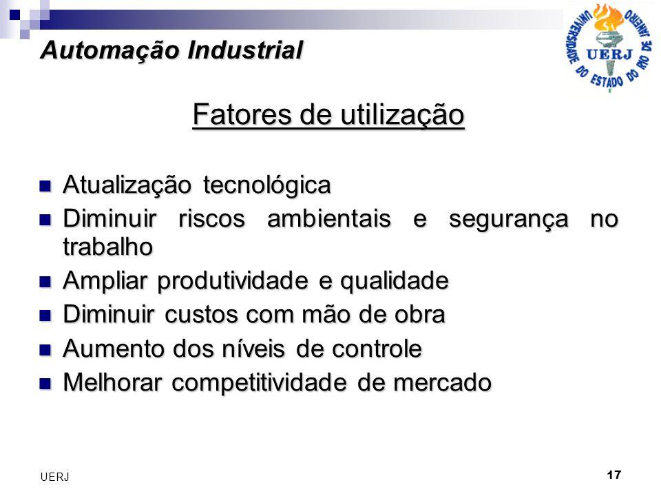 17 UERJ Automação Industrial Fatores de utilização Atualização tecnológica Atualização tecnológica Diminuir riscos ambientais e segurança no trabalho