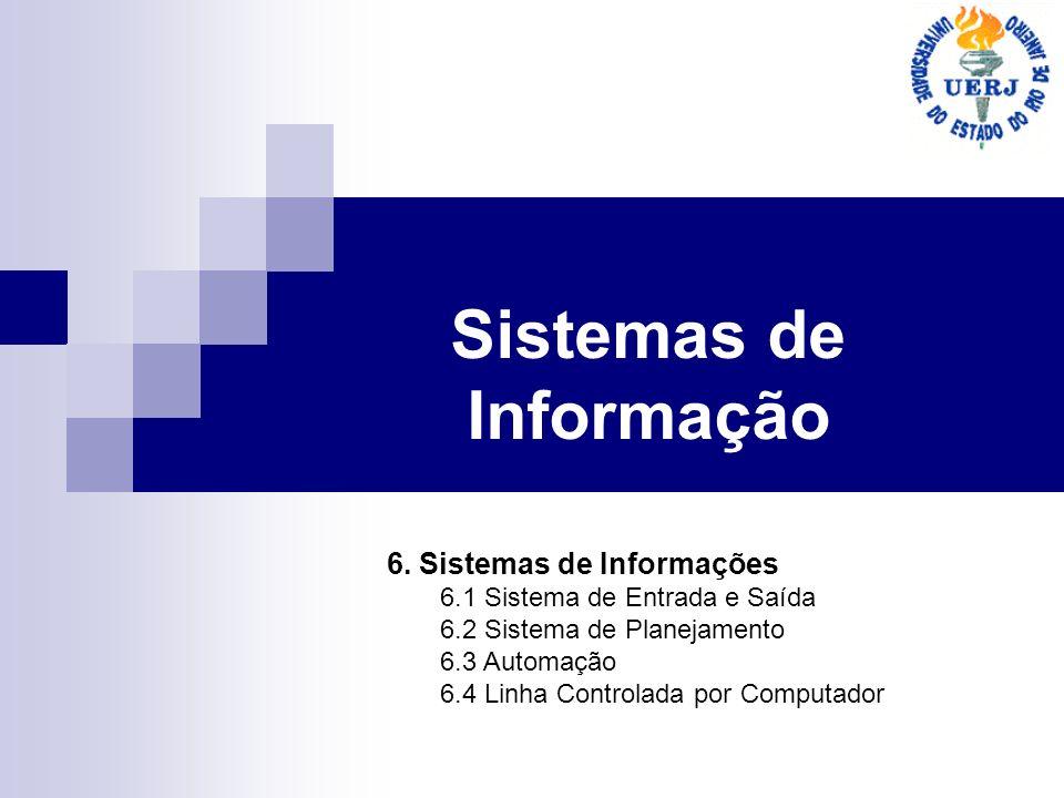 Sistemas de Informação 6. Sistemas de Informações 6.1 Sistema de Entrada e Saída 6.2 Sistema de Planejamento 6.3 Automação 6.4 Linha Controlada por Co