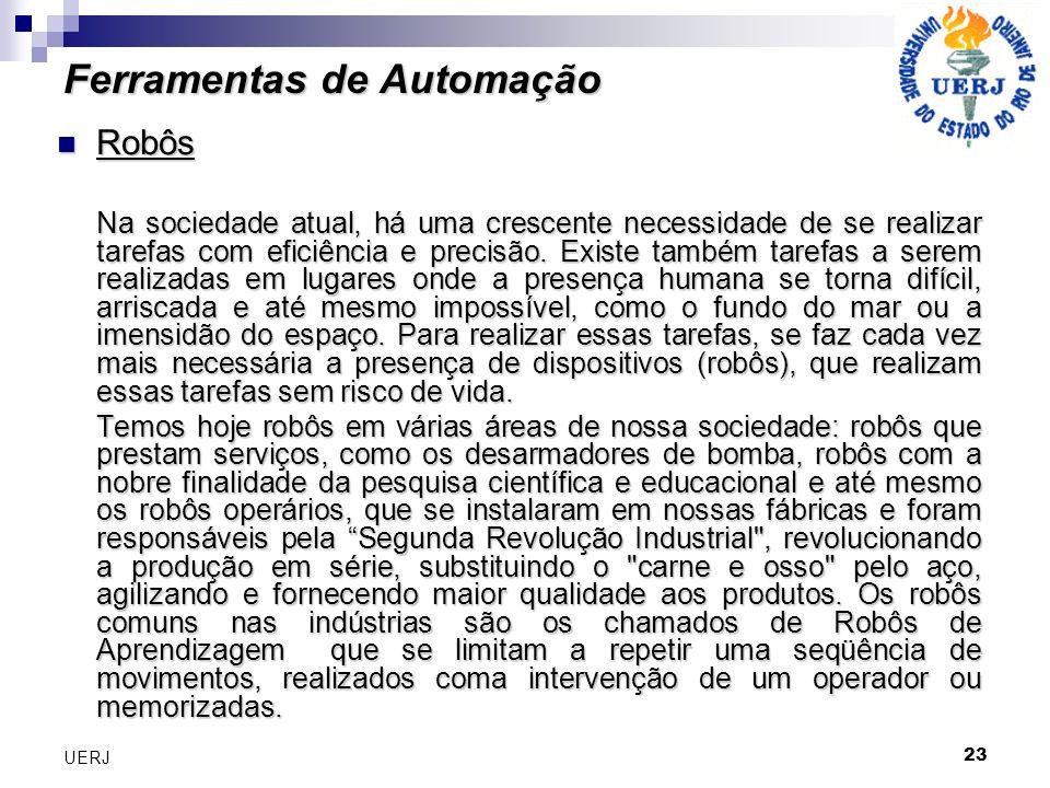 23 UERJ Ferramentas de Automação Robôs Robôs Na sociedade atual, há uma crescente necessidade de se realizar tarefas com eficiência e precisão. Existe