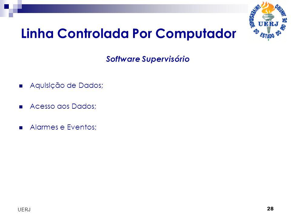 28 UERJ Linha Controlada Por Computador Aquisição de Dados; Acesso aos Dados; Alarmes e Eventos; Software Supervisório