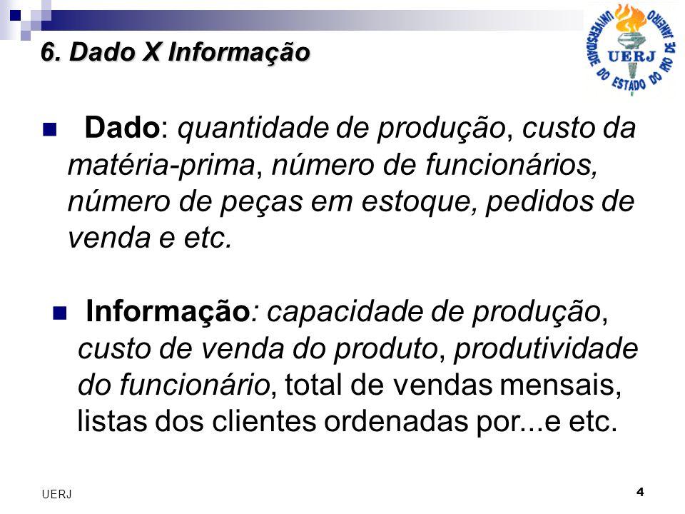 4 UERJ Dado: quantidade de produção, custo da matéria-prima, número de funcionários, número de peças em estoque, pedidos de venda e etc. 6. Dado X Inf